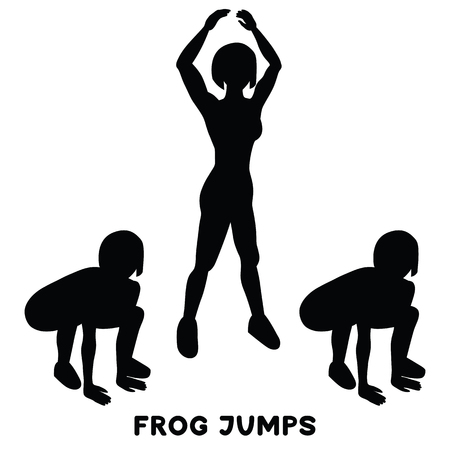 Frog jumps. Sport exersice. Silhouettes of woman doing exercise. Workout, training Vector illustration