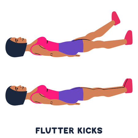 Flutter kicks. Sport exersice. Silhouettes of woman doing exercise. Workout, training Vector illustration