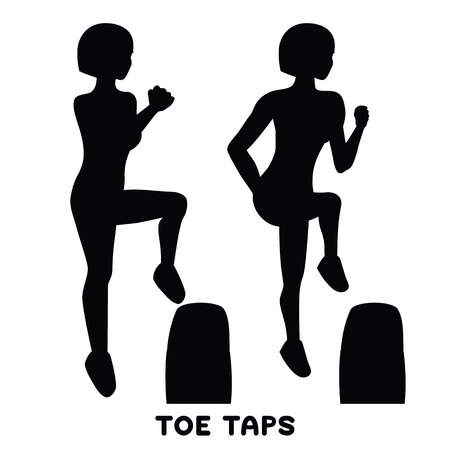 Toe taps. Sport exercise. Silhouettes of woman doing exercise. Workout, training.