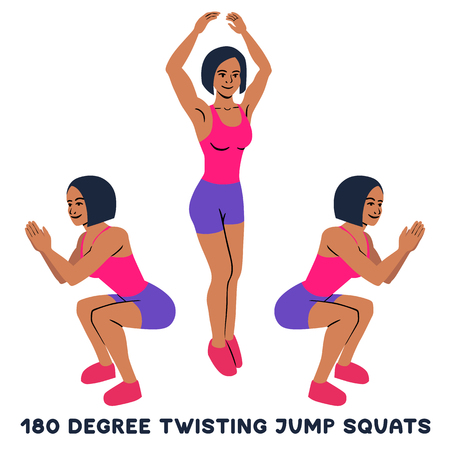 180 degree twisting jump squats. Sport exersice. Silhouettes of woman doing exercise. Workout, training Vector illustration Imagens - 127013276