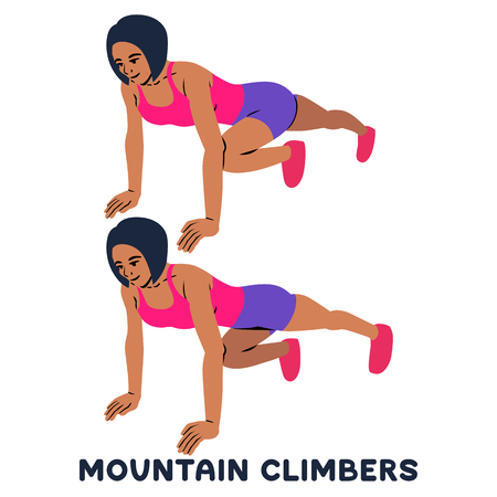 Mountain climbers. Sport exersice. Silhouettes of woman doing exercise. Workout, training Vector illustration