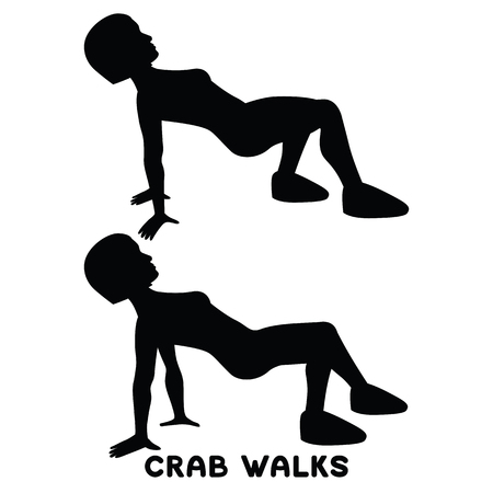 Crab walks. Sport exersice. Silhouettes of woman doing exercise. Workout, training Vector illustration