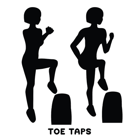 Toe taps. Sport exersice. Silhouettes of woman doing exercise. Workout, training Vector illustration