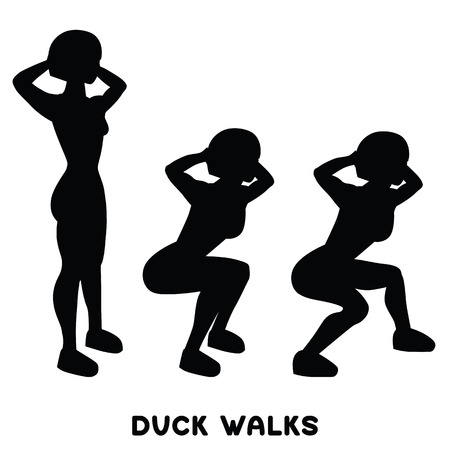 Duck walks. Squat. Sport exersice. Silhouettes of woman doing exercise. Workout, training Vector illustration