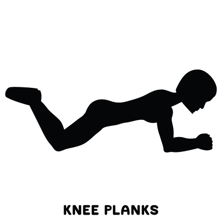 Knee planks. Sport exersice. Silhouettes of woman doing exercise. Workout, training Vector illustration