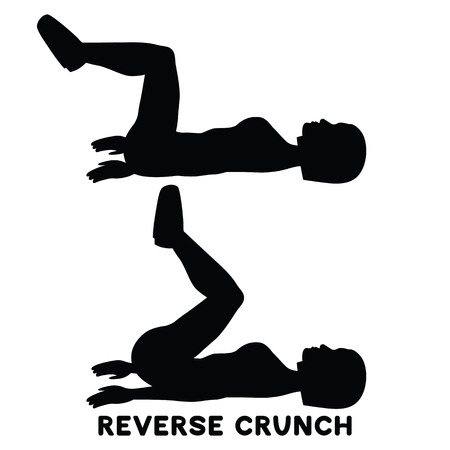 Reverse crunches. Sport exersice. Silhouettes of woman doing exercise. Workout, training Vector illustration