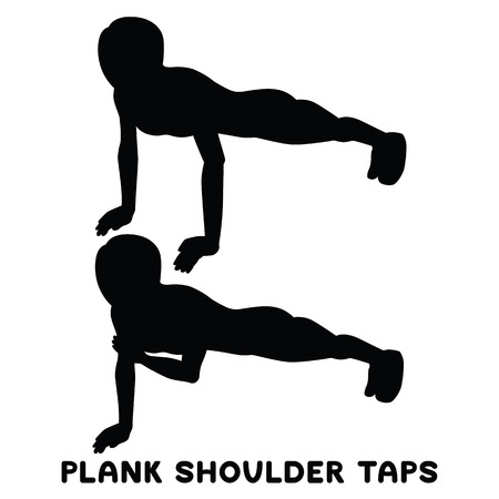 Plank shoulder taps. Sport exersice. Silhouettes of woman doing exercise. Workout, training Vector illustration
