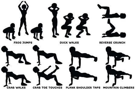 Frog jumps. Duck walks. Reverse crunch. Crab walks. Crab toe touches. Plank shoulder taps. Mountain climbers. Sport exersice. Silhouettes of woman doing exercise. Workout, training Vector illustration Ilustração