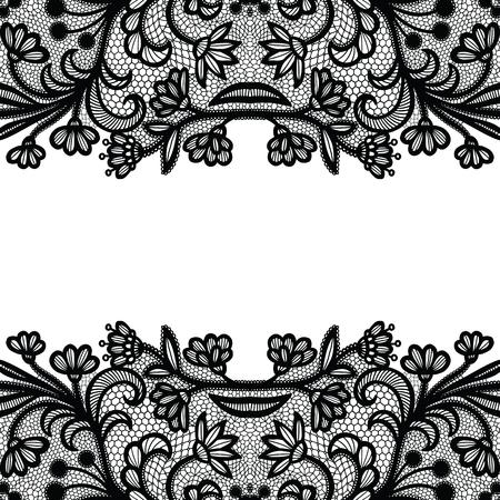 Seamless lace border. Vector illustration. Black lacy vintage elegant trim. Ilustração
