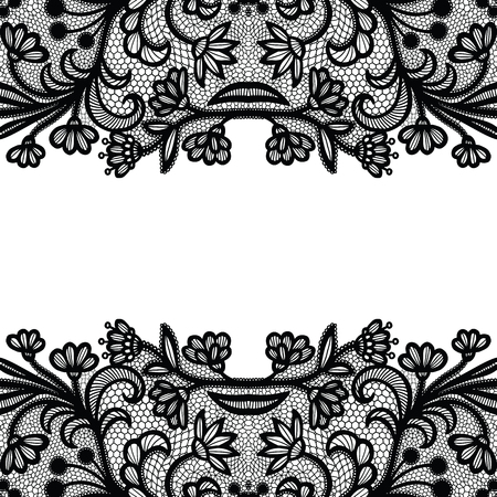 Seamless lace border. Vector illustration. Black lacy vintage elegant trim. Illustration