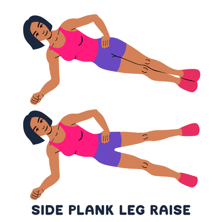 Side plank leg raise. Sport exersice. Silhouettes of woman doing exercise. Workout, training Vector illustration 矢量图像