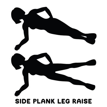 Side plank leg raise. Sport exersice. Silhouettes of woman doing exercise. Workout, training Vector illustration Ilustração
