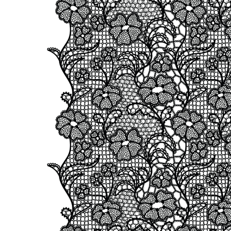 Seamless lace border. Vector illustration. Black lacy vintage elegant trim. 矢量图像
