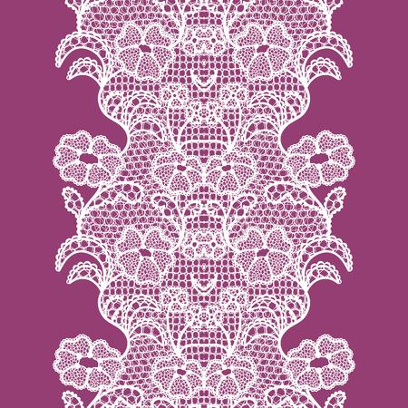 Biała koronkowa elegancka lamówka w stylu vintage. Ilustracja wektorowa.