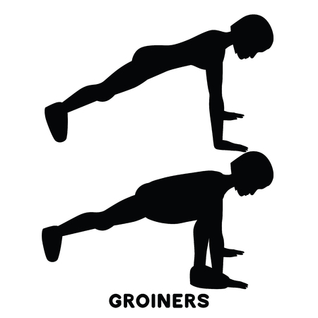 Groiners. Plank. Planking. Sport exersice. Silhouettes of woman doing exercise. Workout, training Vector illustration