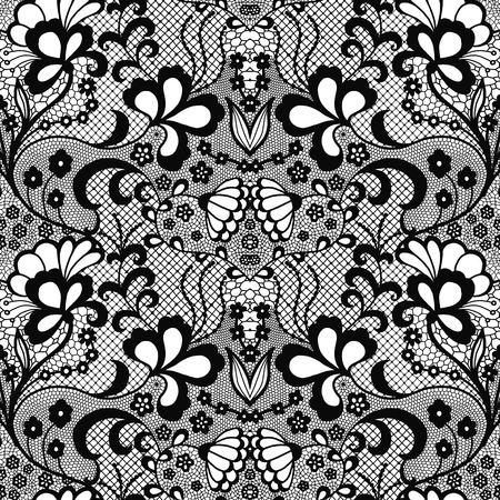 Modèle sans couture en dentelle avec des fleurs Vecteurs
