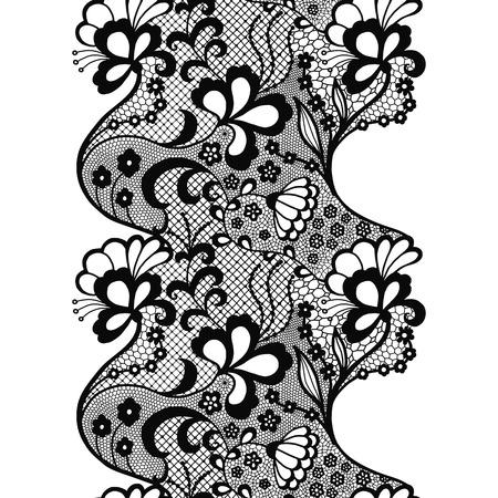 Black lacy vintage elegant trim. Vector illustration.
