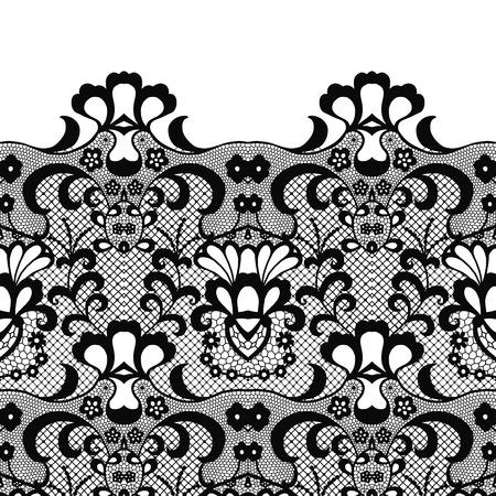 Bezszwowa granica koronki. Ilustracja wektorowa. Czarna koronkowa elegancka lamówka w stylu vintage.