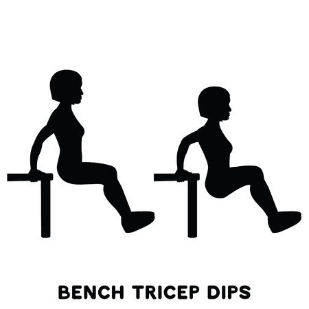 Chair. Bench triceps dips. Sport exersice. Silhouettes of woman doing exercise. Workout, training Vector illustration