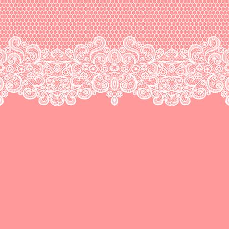 Borde de encaje transparente. Ilustración vectorial Ribete elegante vintage de encaje blanco.