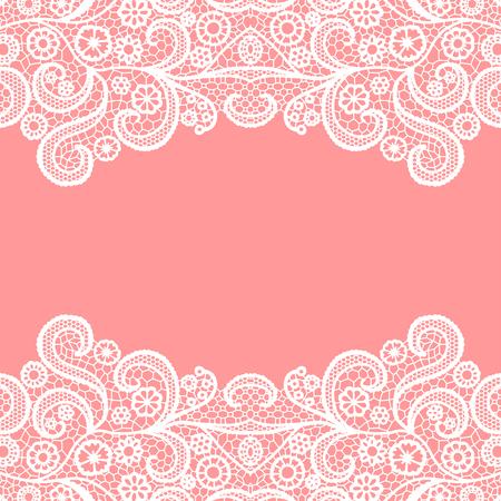 Seamless lace border. Vector illustration. White lacy vintage elegant trim. Vector Illustration