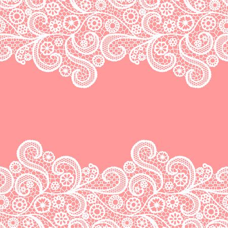 Seamless lace border. Vector illustration. White lacy vintage elegant trim. Invitation card.