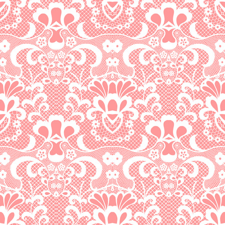 White lace seamless pattern with flowers on pink background Ilustração