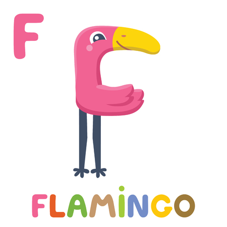 F is for Flamingo. Letter F. Flamingo, cute illustration. Animal alphabet. Vettoriali