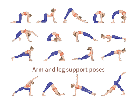 Women silhouettes. Collection of yoga poses. Asana set. Vector illustration. Arm and leg support poses Иллюстрация