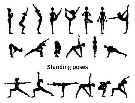 Women silhouettes. Collection of yoga poses. Asana set. Vector illustration. Standing poses