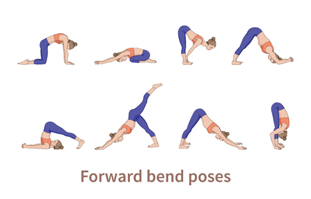Women silhouettes. Collection of yoga poses. Asana set. Vector illustration. Foward bend poses Векторная Иллюстрация