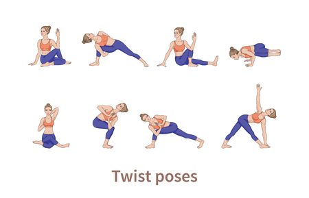 Women silhouettes. Collection of yoga poses. Asana set. Vector illustration. Twist poses