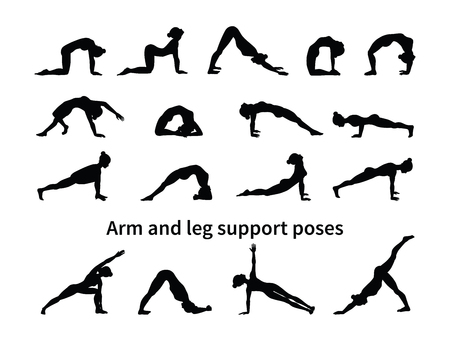 Women silhouettes. Collection of yoga poses. Asana set. Vector illustration. Arm and leg support poses Ilustração