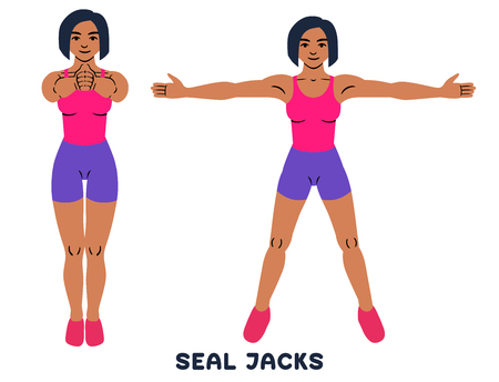 Seal Jacks. Sport exersice. Silhouettes of woman doing exercise. Workout, training. Vector illustration Vektorové ilustrace