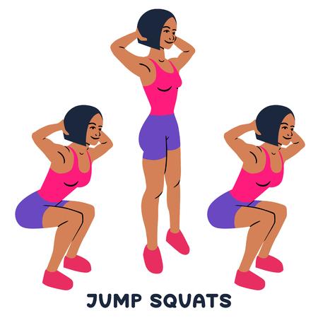 Sentadillas con salto. Ponerse en cuclillas. Ejercicio deportivo. Siluetas de mujer haciendo ejercicio. Entrenamiento, entrenamiento.