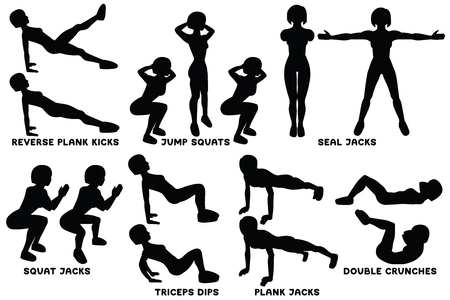 Reverse plank kicks. Reverse plank. Jump squats. Squat. Seal Jacks. Squat jacks. Squat. Triceps dips. PLank jacks. Plank. Planking. Double crunches. Sport exersice. Silhouettes of woman doing exercise. Workout, training Vector illustration