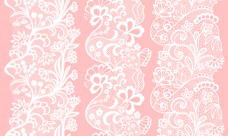 White lacy vintage elegant trims. Vector illustration. Vettoriali