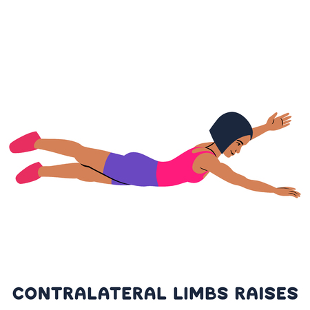 Contralateral limbs raises. Sport exercise. Silhouettes of woman doing exercise. Workout, training.