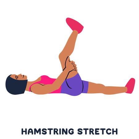 햄스트링 스트레칭. 스포츠 운동입니다. 운동을 하는 여자의 실루엣입니다. 운동, 훈련 벡터 일러스트 레이 션 벡터 (일러스트)