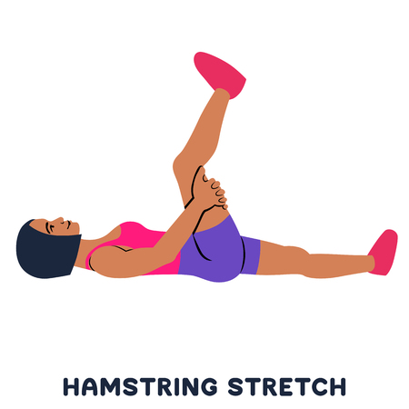 Hamstring stretch. Sport exersice. Silhouettes of woman doing exercise. Workout, training Vector illustration