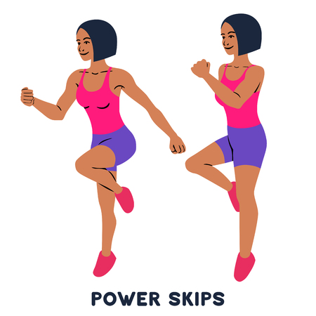 Power skips. Sport exercise. Silhouettes of woman doing exercise. Workout, training Vector illustration Banco de Imagens