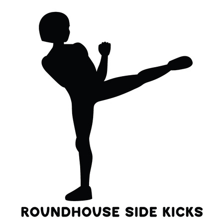 Roundhouse side kicks. Side kick. Sport exercise. Silhouettes of woman doing exercise. Workout, training Vector illustration