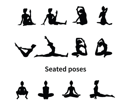 Women silhouettes. Collection of yoga poses. Asana set. Vector illustration. Seated poses