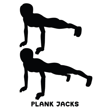 PLank jacks. Plank. Planking. Sport exercise. Silhouettes of woman doing exercise. Workout, training Vector illustration