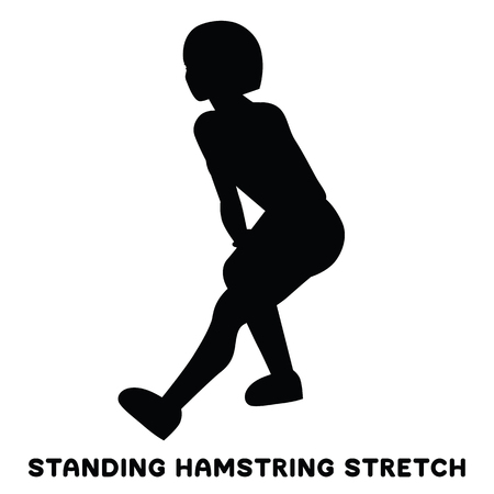 Standing hamsting stretch. Sport exercise. Silhouettes of woman doing exercise. Workout, training Vector illustration