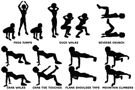 Frog jumps. Duck walks. Reverse crunch. Crab walks. Crab toe touches. Plank shoulder taps. Mountain climbers. Sport exercise. Silhouettes of woman doing exercise. Workout, training Vector illustration