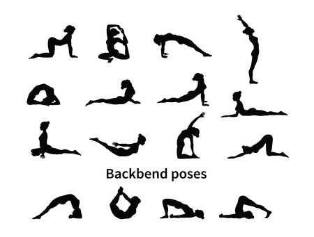 Women silhouettes. Collection of yoga poses. Asana set. Vector illustration. Backbend poses 矢量图像