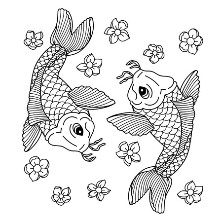 Koi carp. Traditional Japanese tattoo. Vector illustration