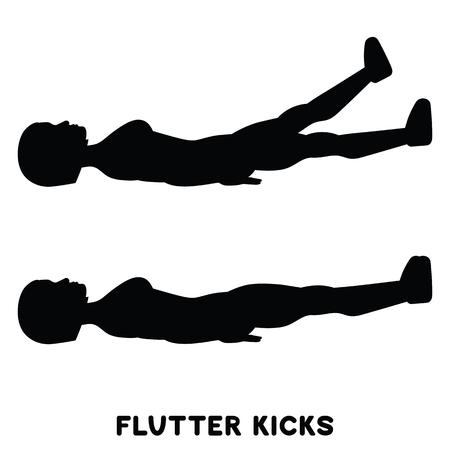 Flutter kicks. Sport exercise. Silhouettes of woman doing exercise. Workout, training Vector illustration Ilustração Vetorial