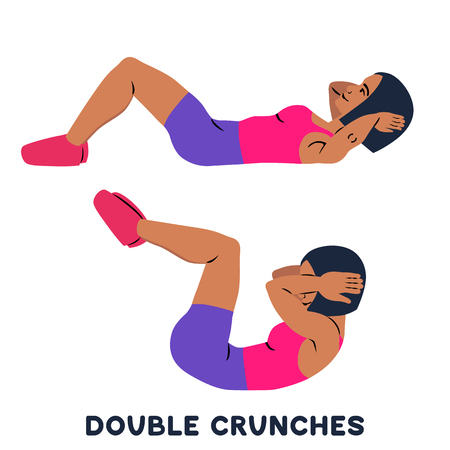Double crunches. Double crunch. Sport exersice. Silhouettes of woman doing exercise. Workout, training Vector illustration 免版税图像 - 126198171
